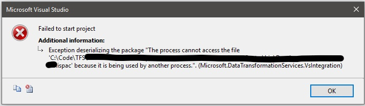 SSIS – Process Cannot Access File Project ispac – John Xiong